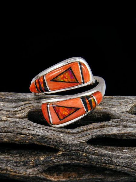 Adjustable Spiny Oyster Inlay Ring