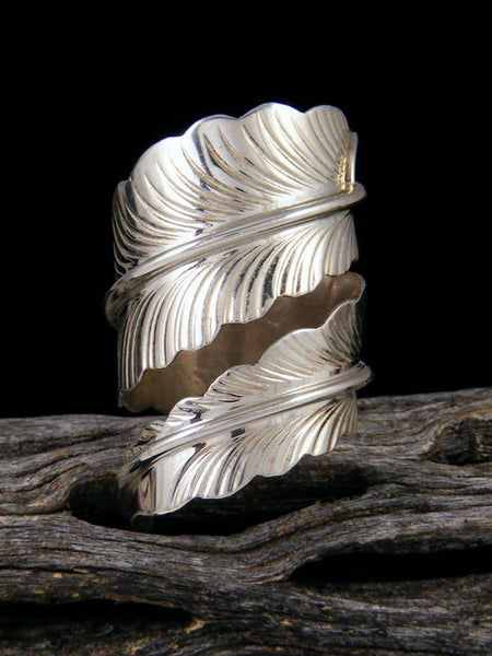 Navajo Sterling Silver Feather Ring Adjustable