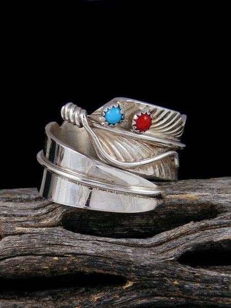 Navajo Turquoise and Coral Feather Ring Adjustable