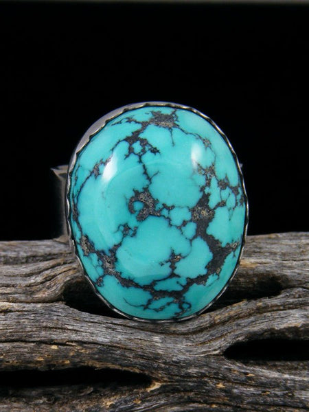 Adjustable Cloud Mountain Turquoise Ring, Size 8+
