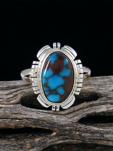 Egyptian Turquoise Sterling Silver Ring, Size 7 1/2