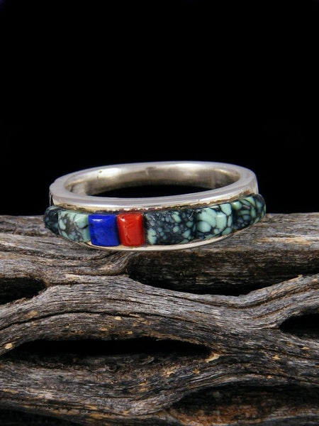 Turquoise Cobblestone Inlay Ring, Size 9