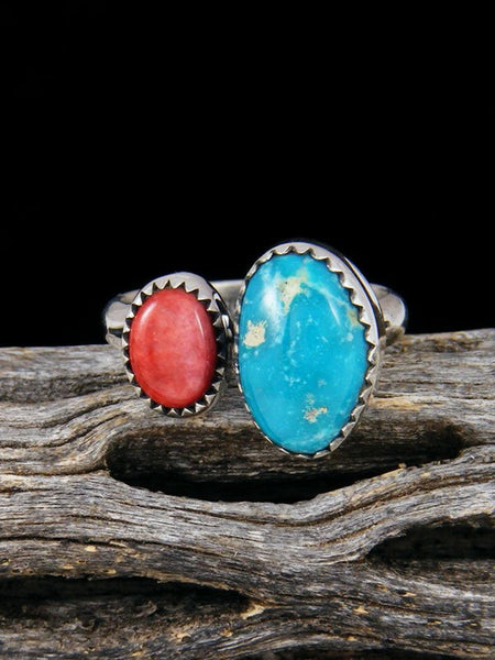Adjustable Spiny Oyster and Turquoise Ring, Size 7-8
