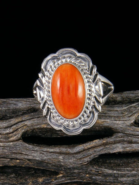 Orange Spiny Oyster Ring, Size 7 1/2