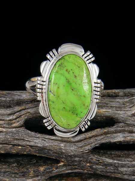 Gaspeite Sterling Silver Ring, Size 7