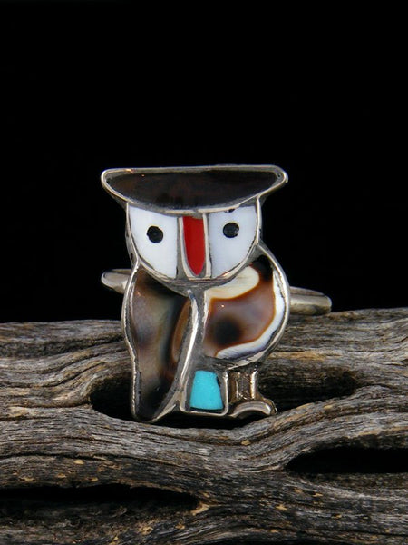 Owl Zuni Inlay Ring, Size 7 1/2