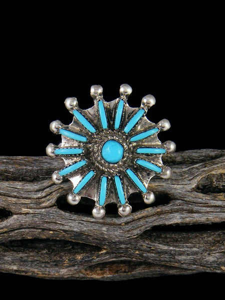 Turquoise Petit Pointe Ring, Size 8 1/4