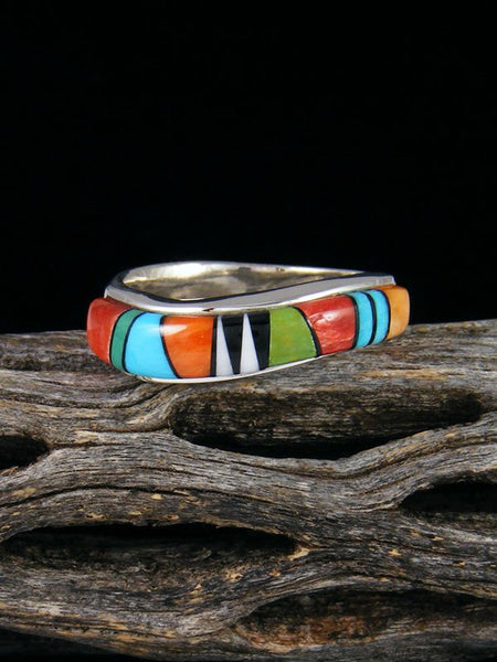 Turquoise and Spiny Oyster Inlay Ring, Size 8