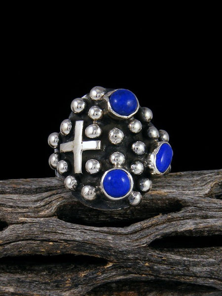 Navajo Sterling Silver Droplet Lapis Cross Ring, Size 8