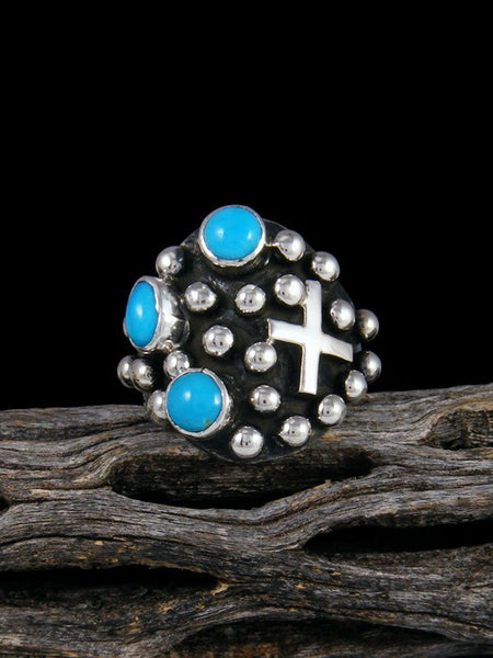 Navajo Sterling Silver Droplet Turquoise Cross Ring, Size 8.5