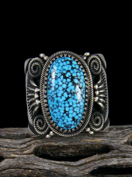 Navajo Natural Kingman Blackweb Turquoise Sterling Silver Ring Size 12