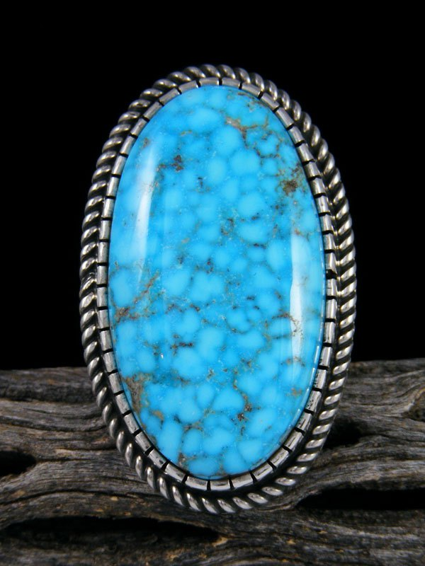 Natural Kingman Sterling Silver Turquoise Ring, Size 7.5