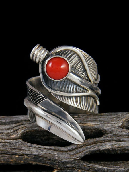Coral Feather Ring, Size 7