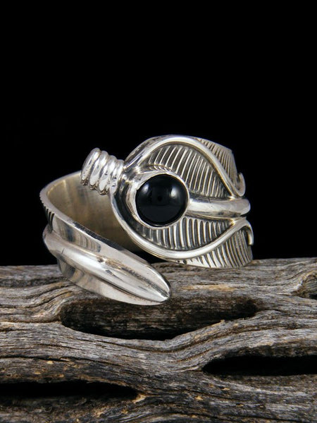 Onyx Feather Ring, Size 10