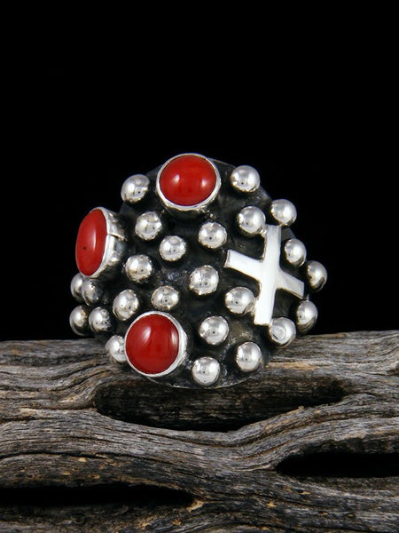 Navajo Sterling Silver Droplet Coral Cross Ring, Size 9