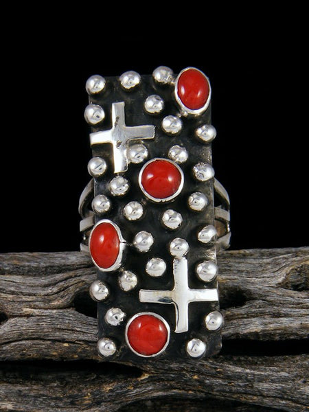 Navajo Sterling Silver Droplet Coral Cross Ring, Size 7