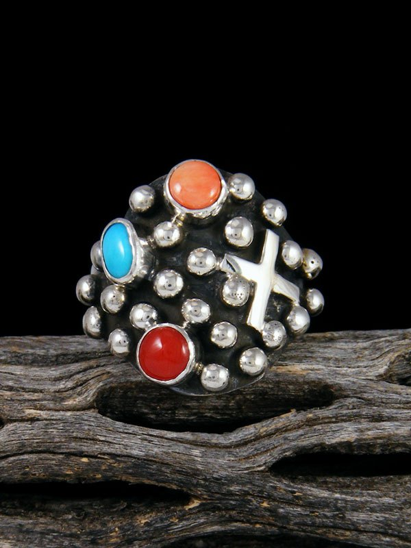 Navajo Sterling Silver Droplet Cross Ring, Size 9.5