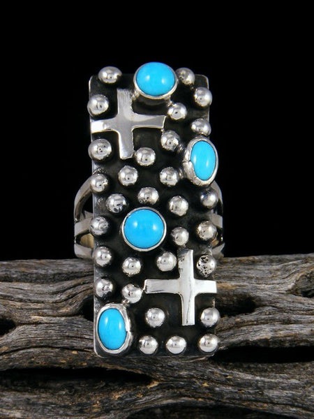 Navajo Sterling Silver Droplet Turquoise Cross Ring, Size 6
