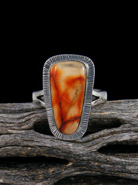 Native American Fossilized Mammoth Tooth Ring, Size 6