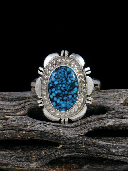 Native American Kingman Black Web Turquoise Ring, Size 8