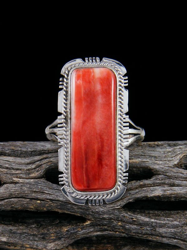 Native American Spiny Oyster Ring, Size 8