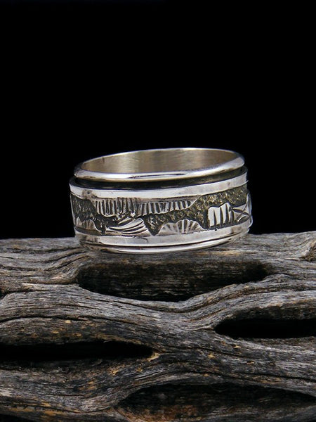 Navajo Sterling Silver Storyteller Spinner Ring
