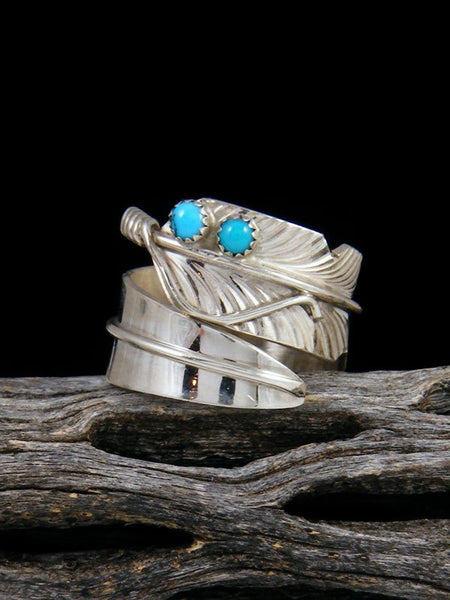 Turquoise Sterling Silver Feather Ring Adjustable