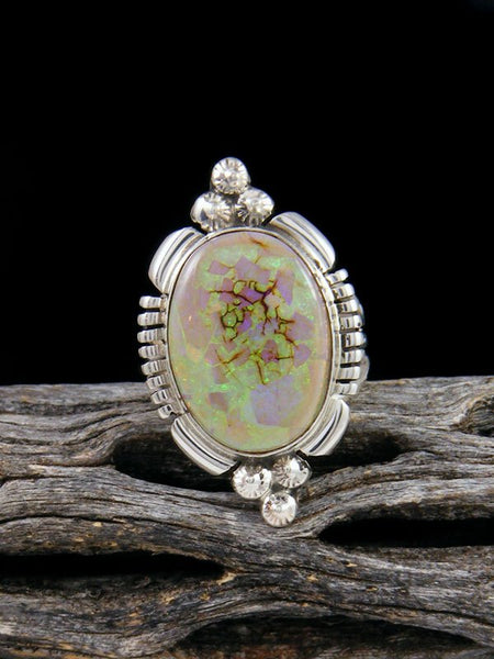 Native American Monarch Opal Sterling Silver Ring, Size 5 1/2
