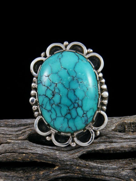 Native American Cloud Mountain Turquoise Sterling Silver Ring, Size 7 1/2
