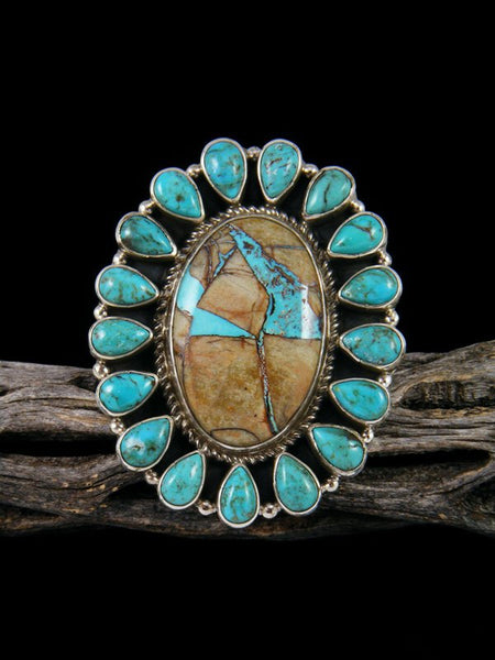 Royston and Kingman Turquoise Cluster Ring Adjustable
