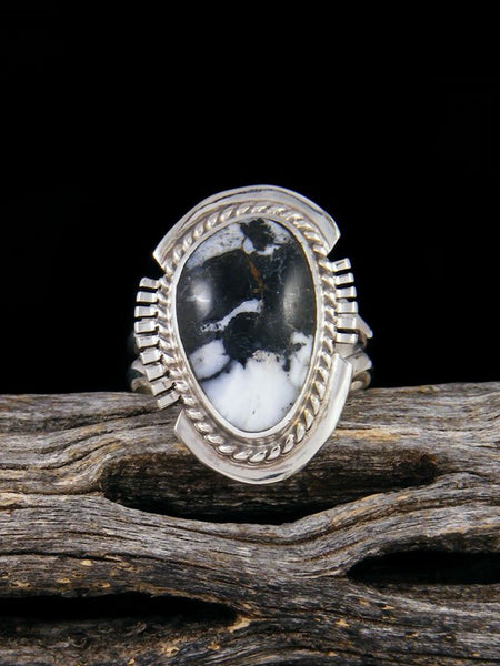 Native American White Buffalo Ring, Size 5