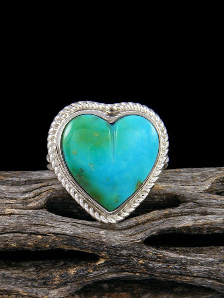 Sonoran Gold Turquoise Heart Ring, Size 8 1/2