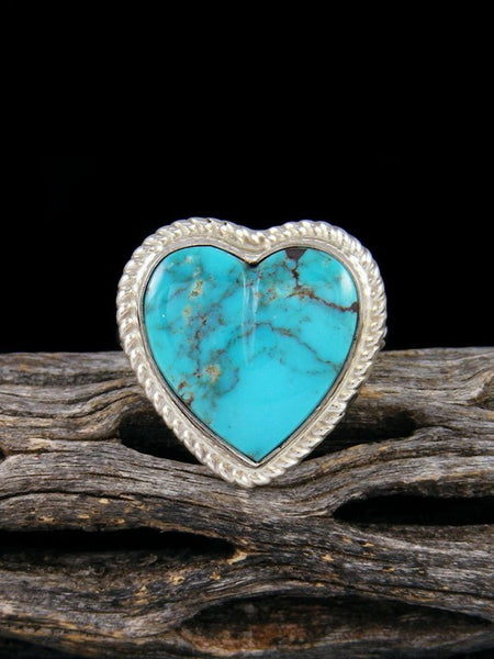 Kingman Turquoise Heart Ring, Size 8