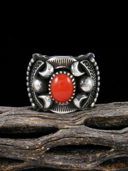 Navajo Coral Sterling Silver Ring Size 9