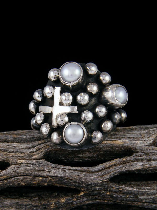 Navajo Sterling Silver Droplet Mother of Pearl Cross Ring Size 8 1/2