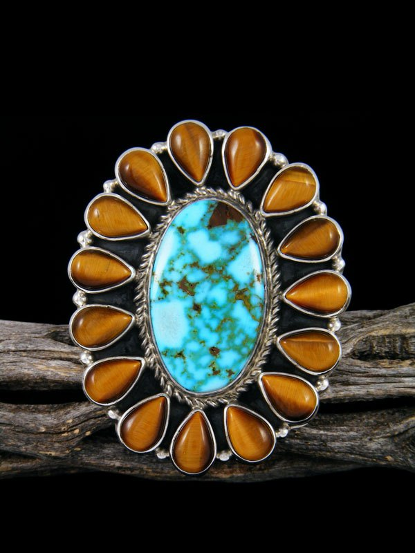 Tiger Eye and Kingman Turquoise Cluster Ring Adjustable