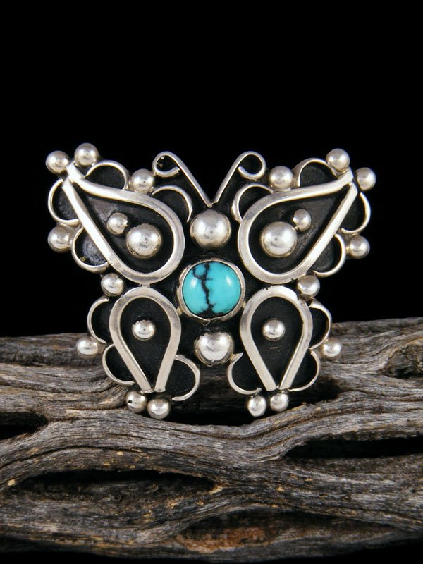 Egyptian Turquoise Butterfly Ring, Size 5