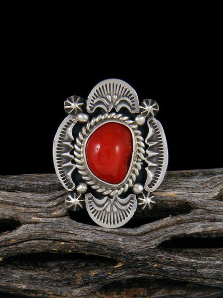 Natural Coral Ring, Size 7
