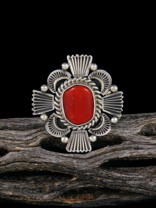 Natural Coral Ring, Size 6 1/2