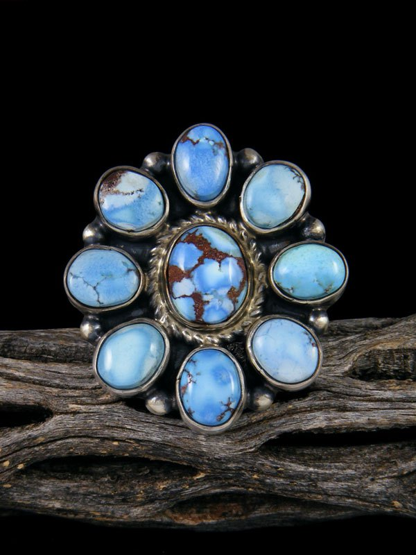 Golden Hill Turquoise Cluster Ring, Size 8 1/2