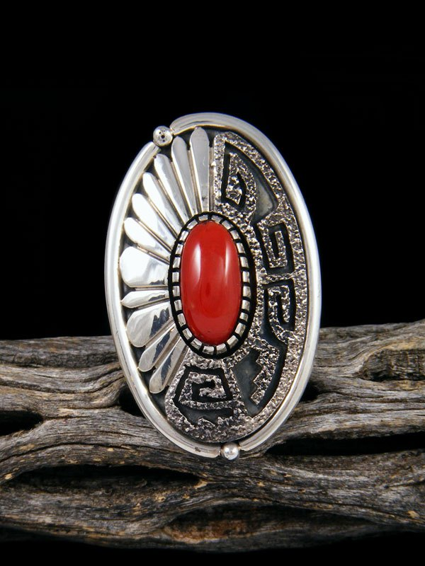 Native American Jewelry Coral Ring, Size 9
