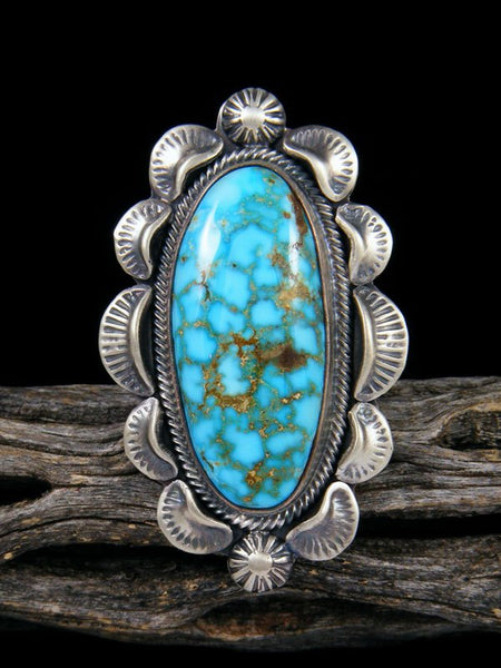Kingman Turquoise Sterling Silver Ring, Size 8 1/2