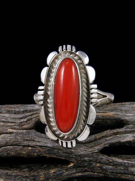 Native American Coral Ring, Size 10
