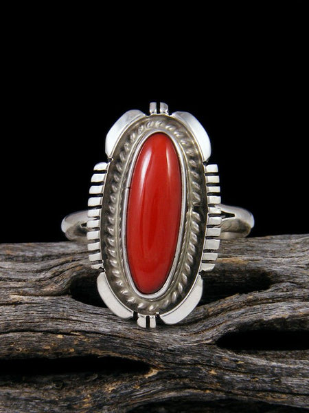 Natural Mediterranean Coral Ring, Size 10