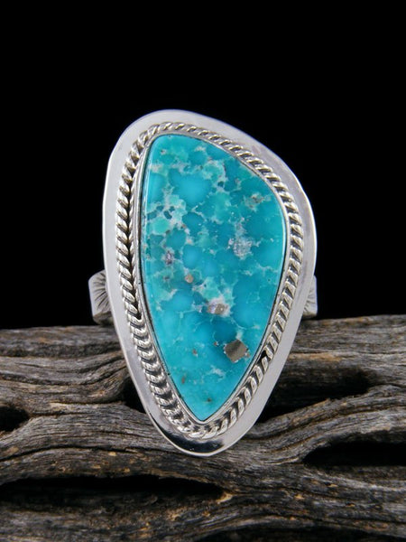 White Water Turquoise Ring, Size 8 3/4
