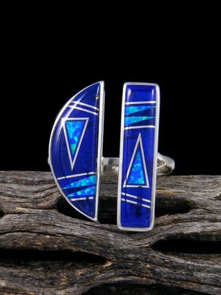 Lapis and Opalite Adjustable Inlay Sterling Silver Ring Size 8 1/2