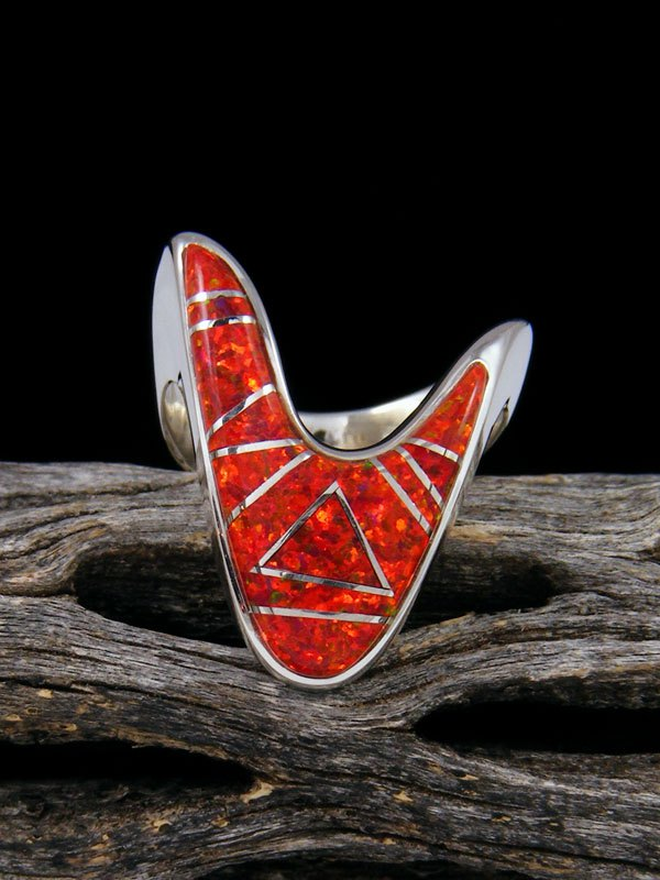 Red Opalite Inlay Ring, Size 5 1/2