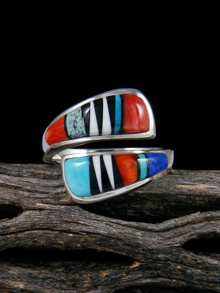 Adjustable Multi Stone Inlay Ring
