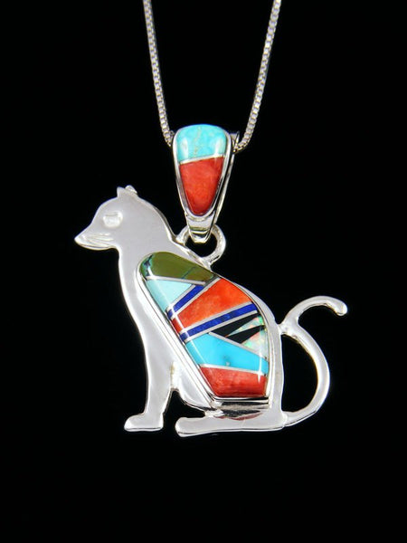 Navajo Multi Stone Inlay Cat Pendant