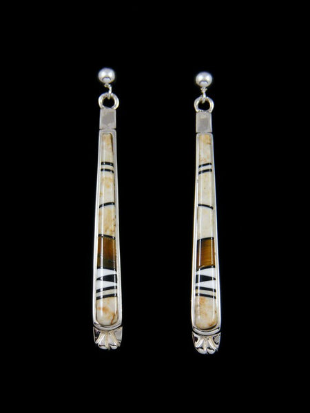 Native American Jasper Inlay Post Dangle Earrings